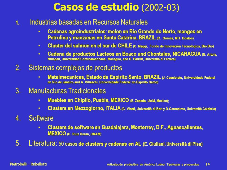 Pietrobelli – Rabellotti Articulación productiva en América Latina: Tipologías y propuestas 14 Casos de estudio (2002-03) 1. Industrias basadas en Rec