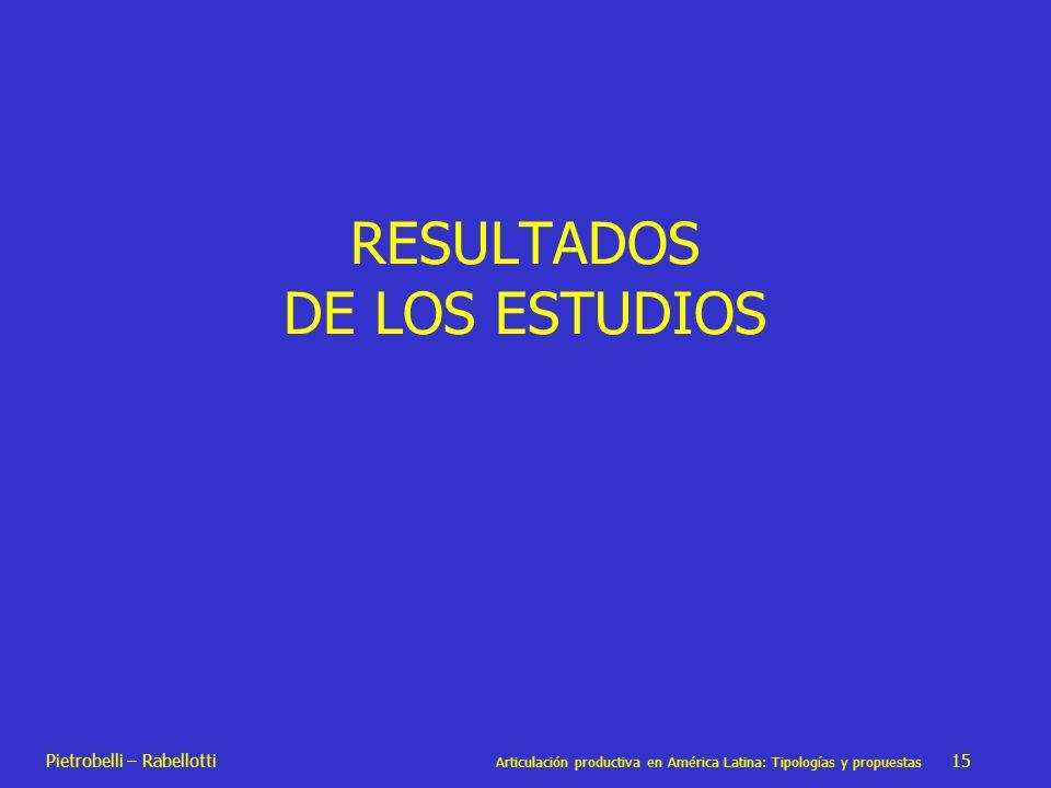 Pietrobelli – Rabellotti Articulación productiva en América Latina: Tipologías y propuestas 15 RESULTADOS DE LOS ESTUDIOS
