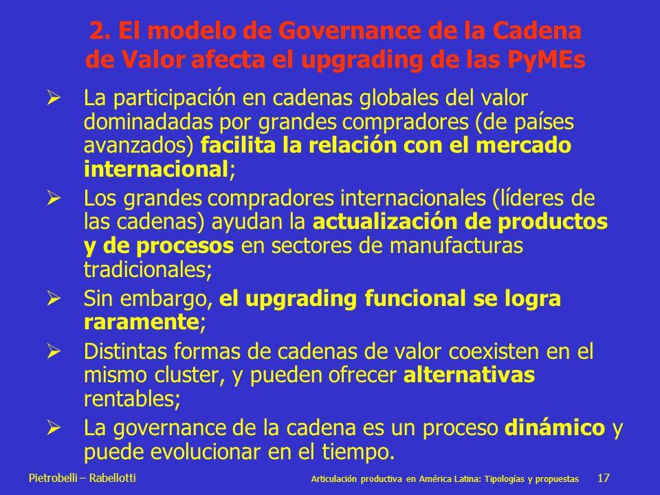 Pietrobelli – Rabellotti Articulación productiva en América Latina: Tipologías y propuestas 17 2. El modelo de Governance de la Cadena de Valor afecta