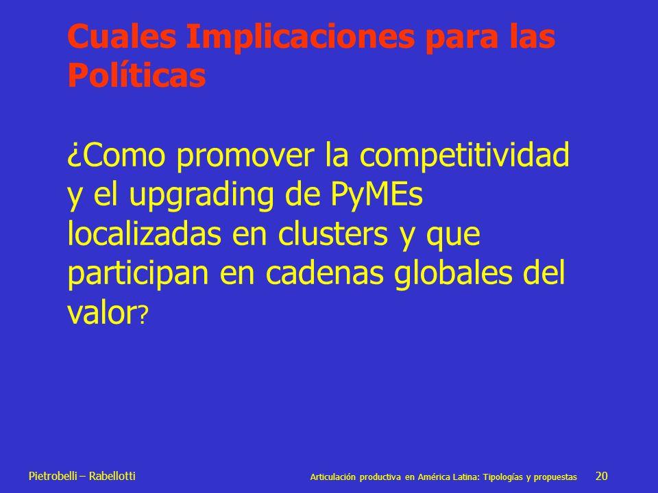 Pietrobelli – Rabellotti Articulación productiva en América Latina: Tipologías y propuestas 20 Cuales Implicaciones para las Políticas ¿Como promover
