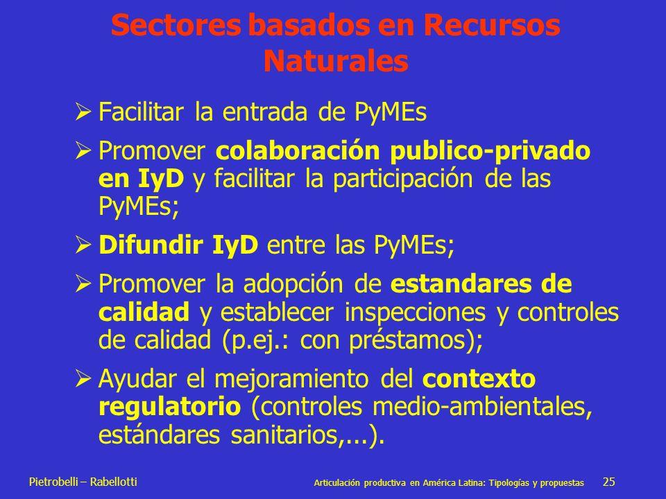 Pietrobelli – Rabellotti Articulación productiva en América Latina: Tipologías y propuestas 25 Facilitar la entrada de PyMEs Promover colaboración pub