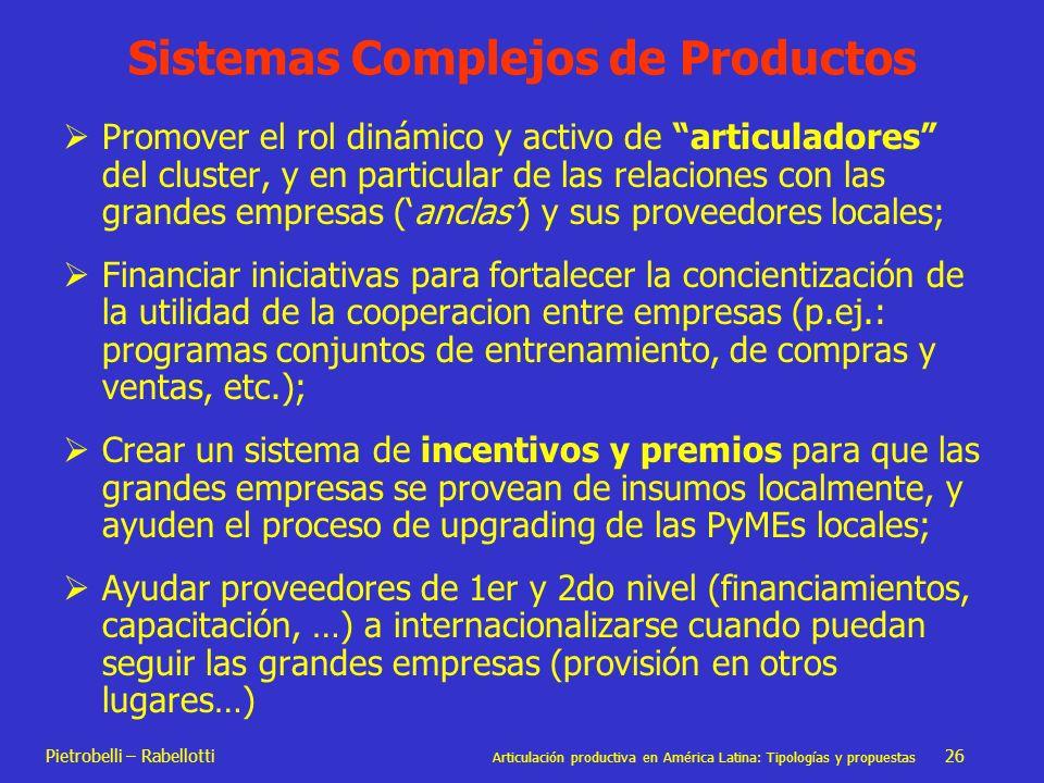 Pietrobelli – Rabellotti Articulación productiva en América Latina: Tipologías y propuestas 26 Sistemas Complejos de Productos Promover el rol dinámic