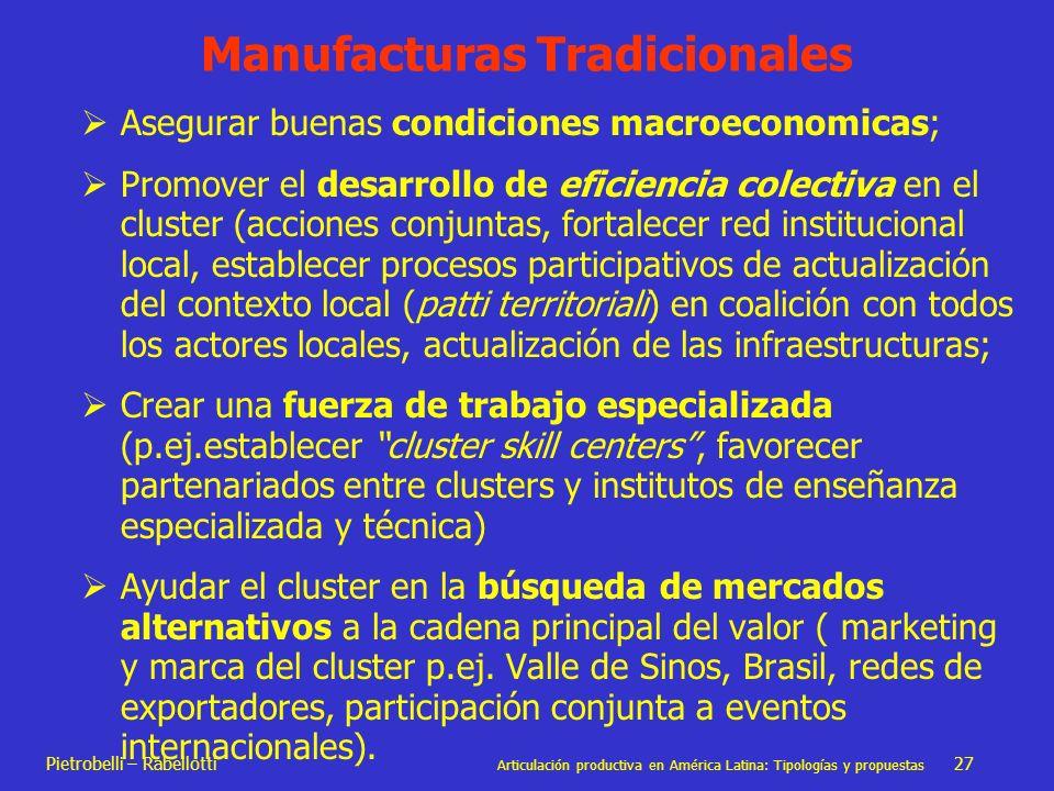 Pietrobelli – Rabellotti Articulación productiva en América Latina: Tipologías y propuestas 27 Manufacturas Tradicionales Asegurar buenas condiciones