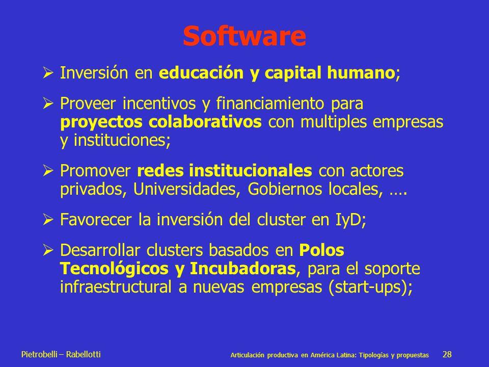 Pietrobelli – Rabellotti Articulación productiva en América Latina: Tipologías y propuestas 28 Software Inversión en educación y capital humano; Prove