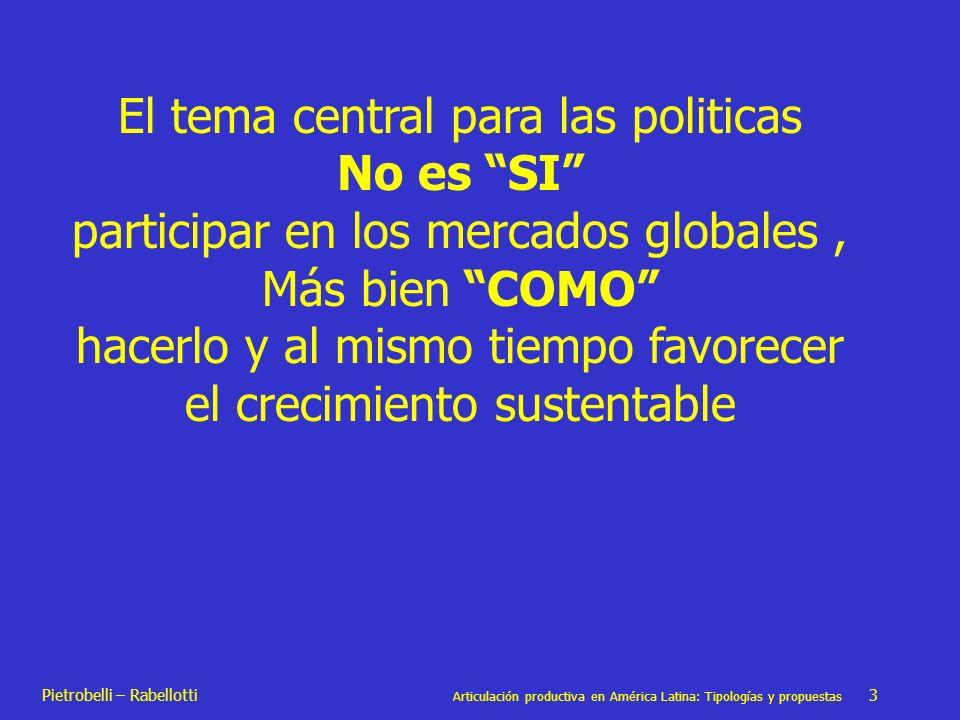 Pietrobelli – Rabellotti Articulación productiva en América Latina: Tipologías y propuestas 3 El tema central para las politicas No es SI participar e
