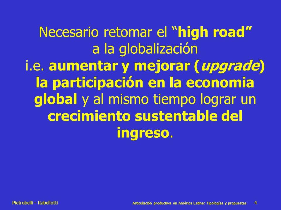Pietrobelli – Rabellotti Articulación productiva en América Latina: Tipologías y propuestas 4 Necesario retomar el high road a la globalización i.e. a