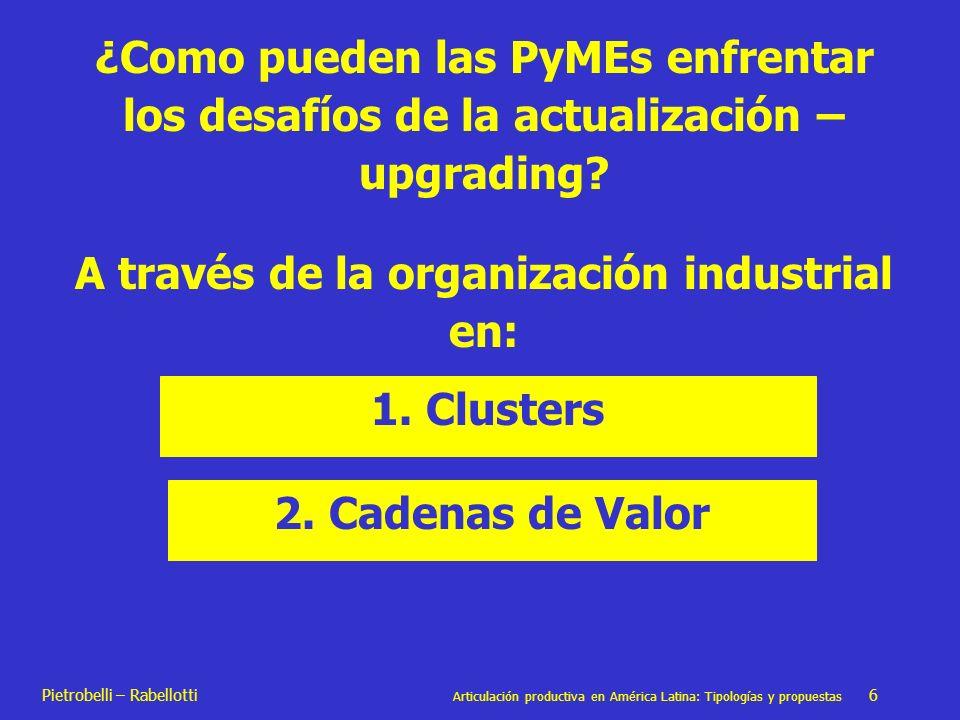 Pietrobelli – Rabellotti Articulación productiva en América Latina: Tipologías y propuestas 6 ¿Como pueden las PyMEs enfrentar los desafíos de la actu