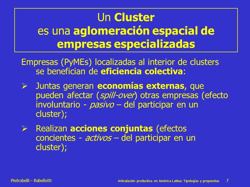 Pietrobelli – Rabellotti Articulación productiva en América Latina: Tipologías y propuestas 7 Un Cluster es una aglomeración espacial de empresas espe