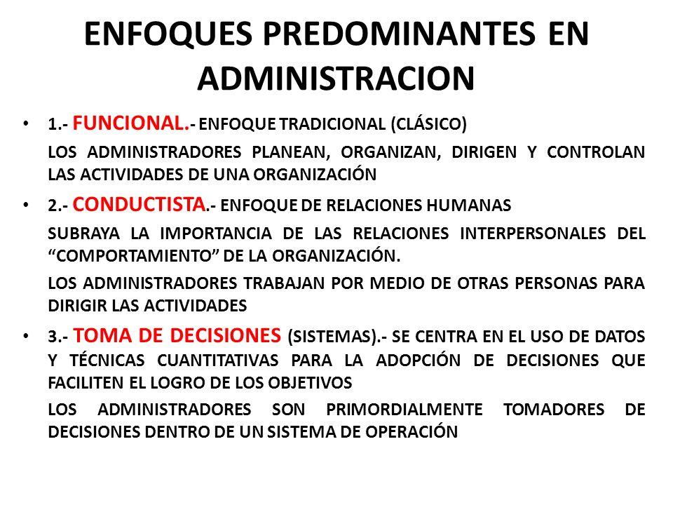 ENFOQUES PREDOMINANTES EN ADMINISTRACION 1.- FUNCIONAL. - ENFOQUE TRADICIONAL (CLÁSICO) LOS ADMINISTRADORES PLANEAN, ORGANIZAN, DIRIGEN Y CONTROLAN LA