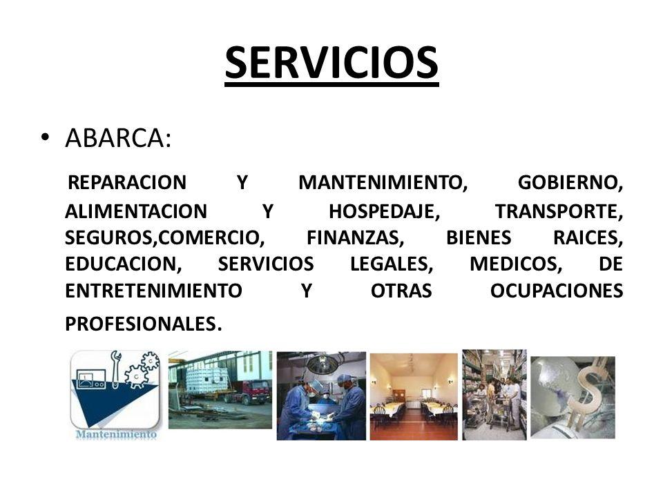 SERVICIOS ABARCA: REPARACION Y MANTENIMIENTO, GOBIERNO, ALIMENTACION Y HOSPEDAJE, TRANSPORTE, SEGUROS,COMERCIO, FINANZAS, BIENES RAICES, EDUCACION, SE