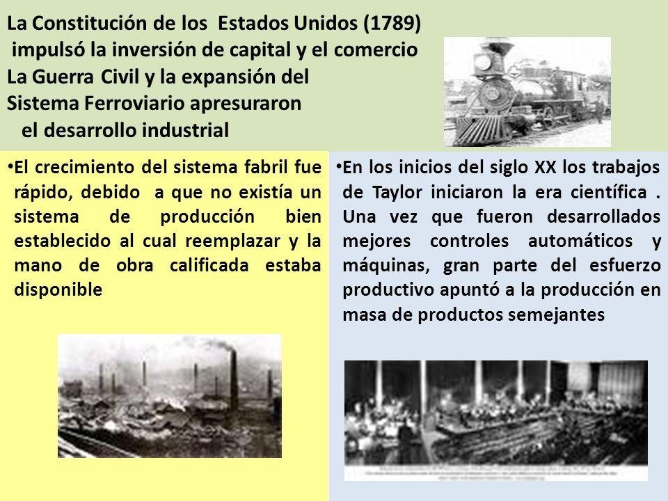 La Constitución de los Estados Unidos (1789) impulsó la inversión de capital y el comercio La Guerra Civil y la expansión del Sistema Ferroviario apre