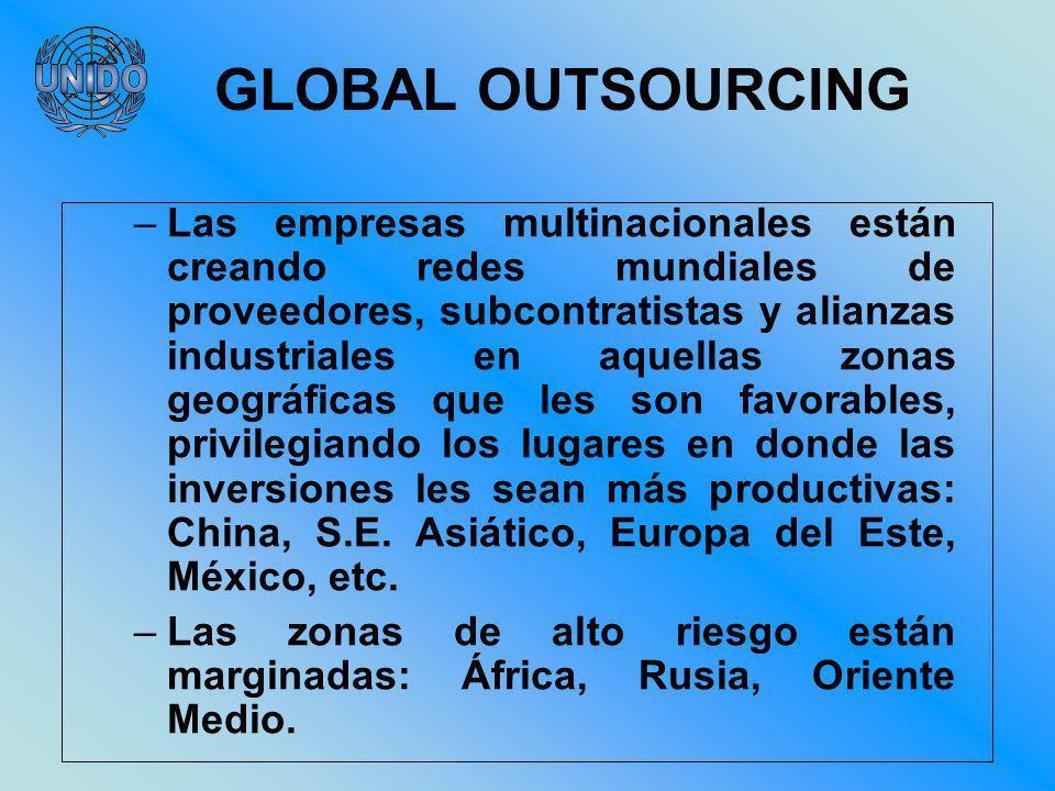 –Las empresas multinacionales están creando redes mundiales de proveedores, subcontratistas y alianzas industriales en aquellas zonas geográficas que les son favorables, privilegiando los lugares en donde las inversiones les sean más productivas: China, S.E.