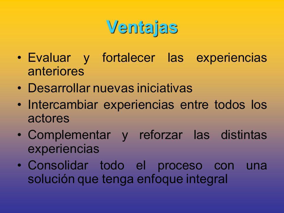 Ventajas Evaluar y fortalecer las experiencias anteriores Desarrollar nuevas iniciativas Intercambiar experiencias entre todos los actores Complementar y reforzar las distintas experiencias Consolidar todo el proceso con una solución que tenga enfoque integral