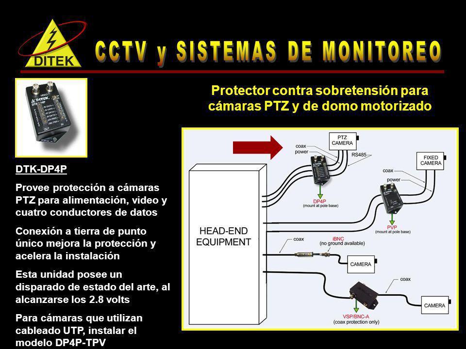 DTK-DP4P-BP Provee protección a cámaras PTZ para alimentación, video y dos conductores de datos Balun pasivo bidireccional integrado Esto permite al integrador tener un conjunto de conexiones menos en el sistema, lo que reduce la pérdida de señal Protector contra sobretensión para cámaras PTZ y de domo motorizado