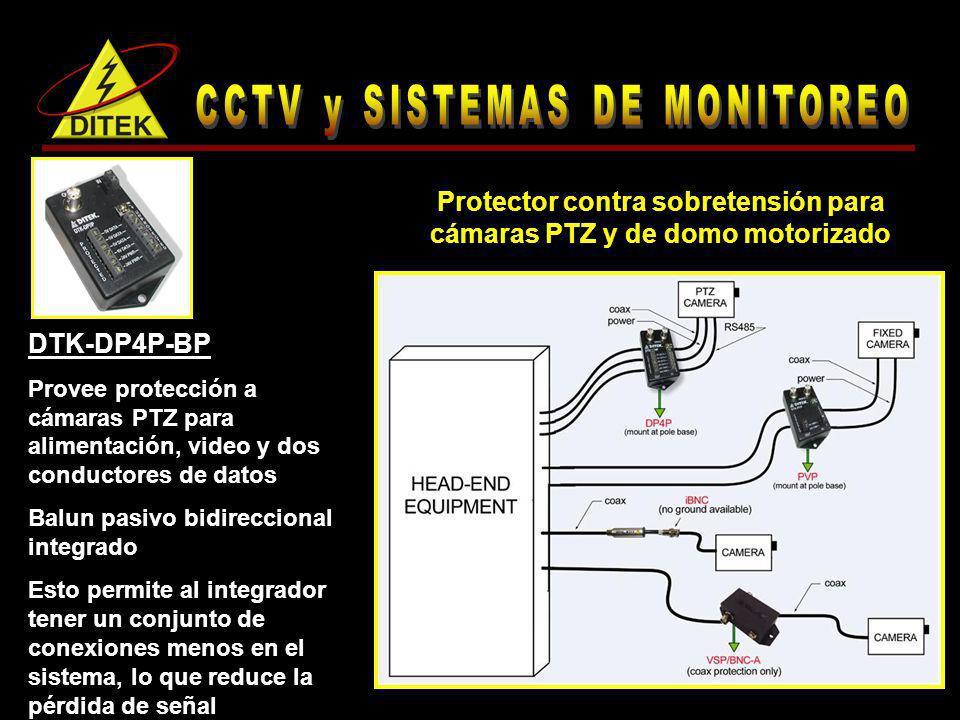 DTK-DP4P-BP Provee protección a cámaras PTZ para alimentación, video y dos conductores de datos Balun pasivo bidireccional integrado Esto permite al i