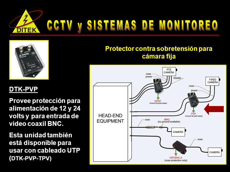 DTK-PVP Provee protección para alimentación de 12 y 24 volts y para entrada de video coaxil BNC. Esta unidad también está disponible para usar con cab