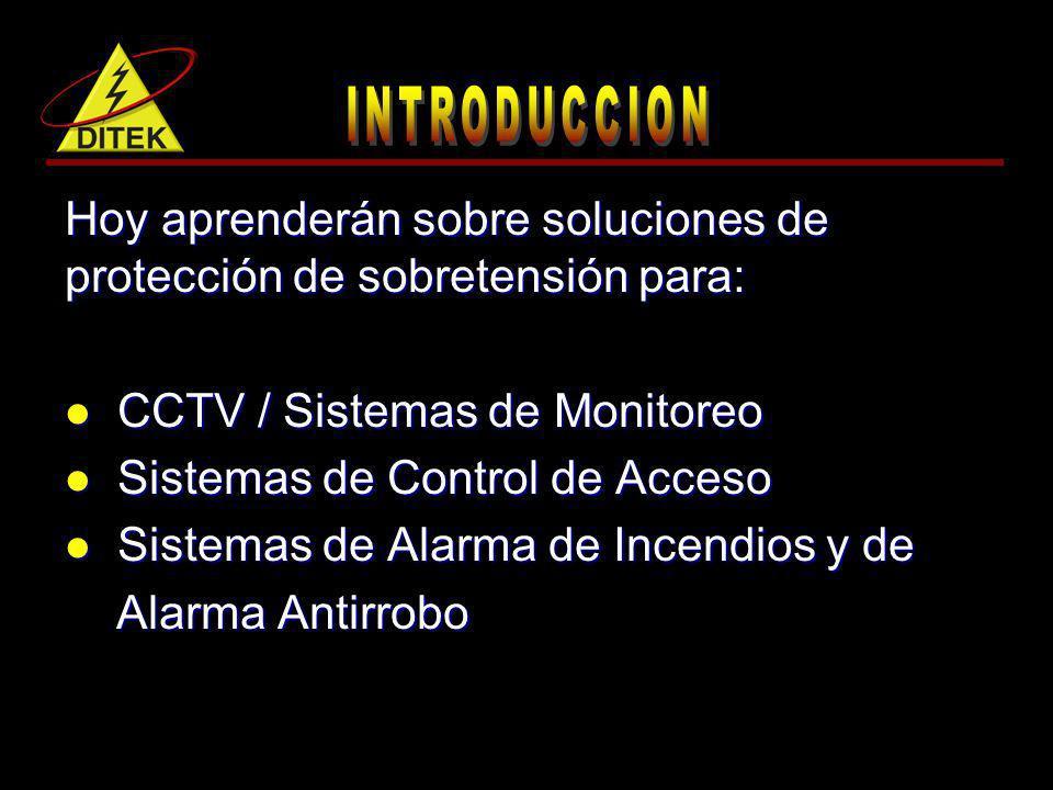 Hoy aprenderán sobre soluciones de protección de sobretensión para: CCTV / Sistemas de Monitoreo CCTV / Sistemas de Monitoreo Sistemas de Control de A