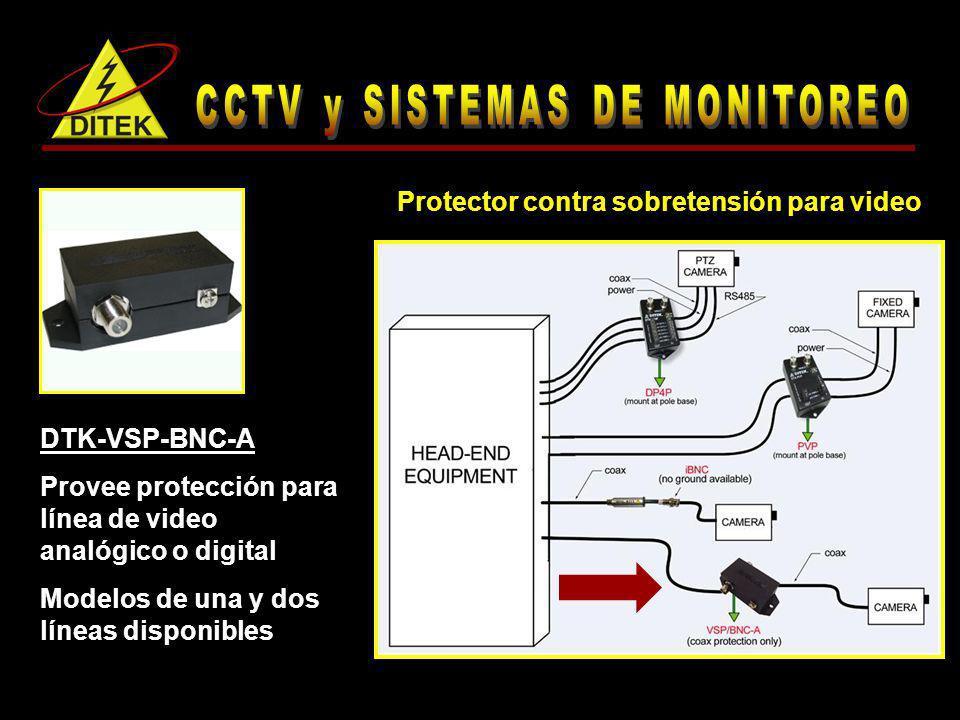 DTK-VSP-BNC-A Provee protección para línea de video analógico o digital Modelos de una y dos líneas disponibles Protector contra sobretensión para vid