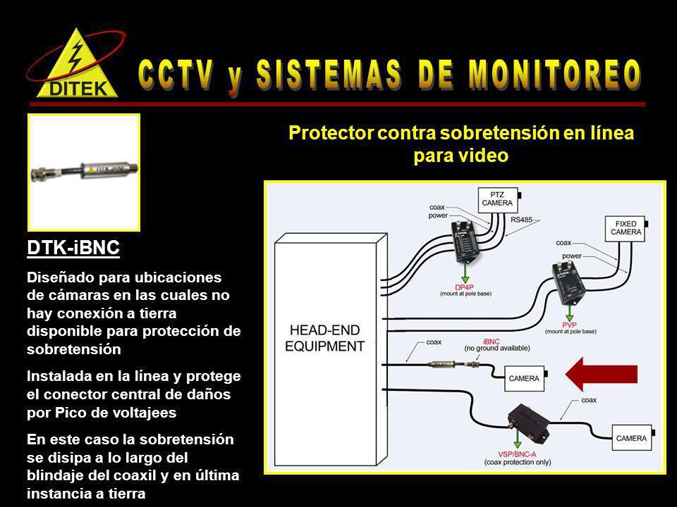DTK-iBNC Diseñado para ubicaciones de cámaras en las cuales no hay conexión a tierra disponible para protección de sobretensión Instalada en la línea