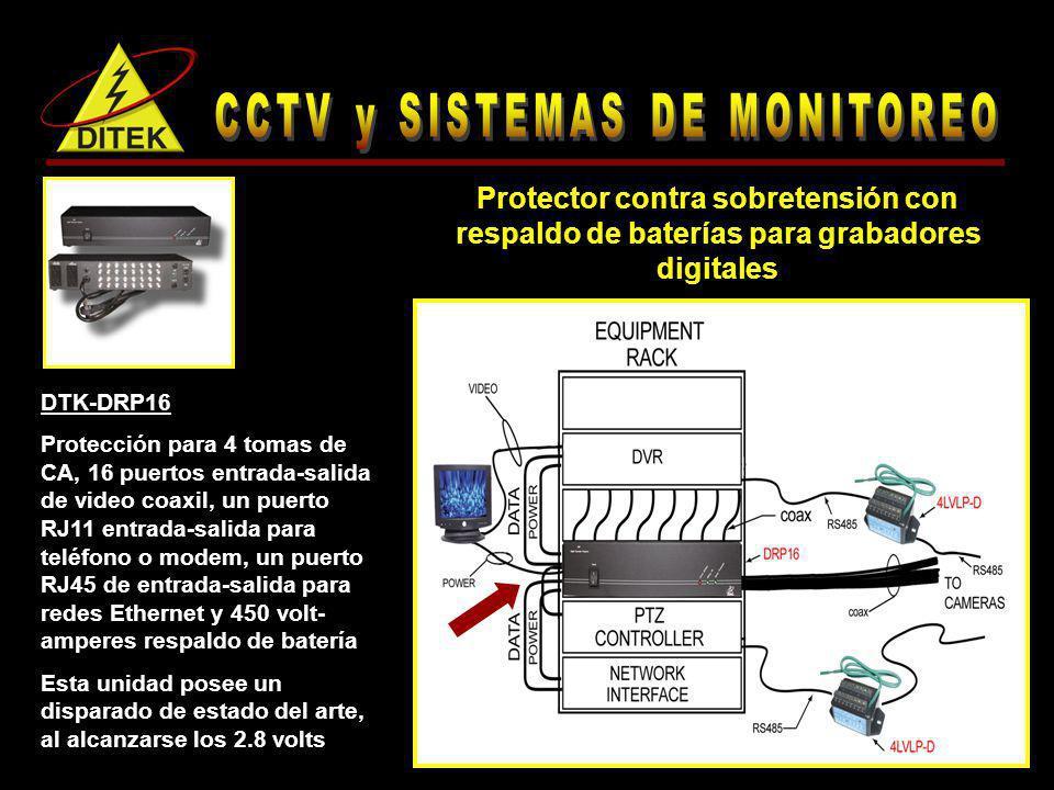 DTK-DRP16 Protección para 4 tomas de CA, 16 puertos entrada-salida de video coaxil, un puerto RJ11 entrada-salida para teléfono o modem, un puerto RJ4