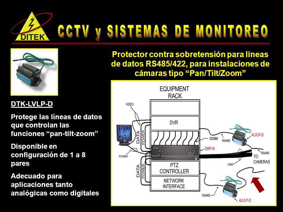 DTK-LVLP-D Protege las líneas de datos que controlan las funciones pan-tilt-zoom Disponible en configuración de 1 a 8 pares Adecuado para aplicaciones