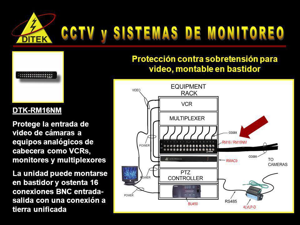 DTK-RM16NM Protege la entrada de video de cámaras a equipos analógicos de cabecera como VCRs, monitores y multiplexores La unidad puede montarse en ba