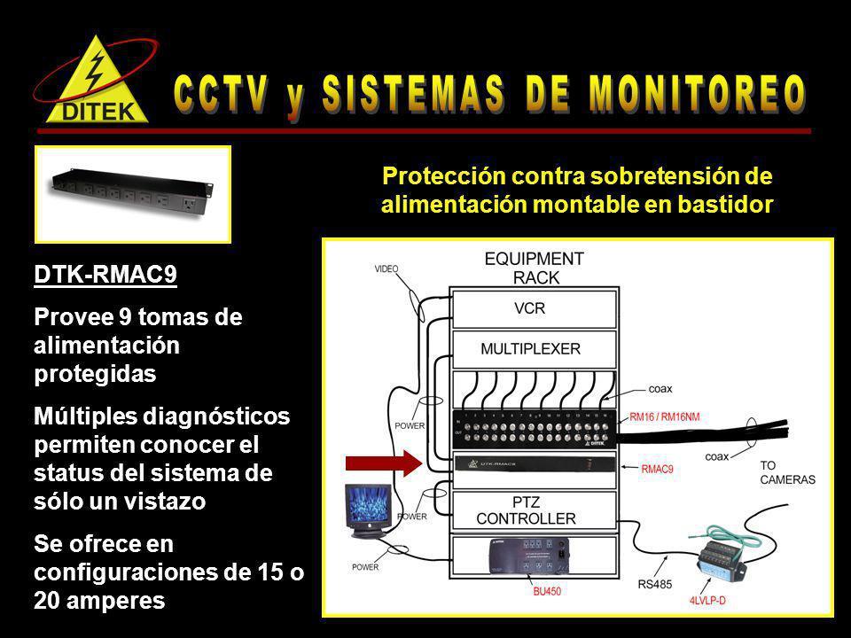DTK-RMAC9 Provee 9 tomas de alimentación protegidas Múltiples diagnósticos permiten conocer el status del sistema de sólo un vistazo Se ofrece en conf