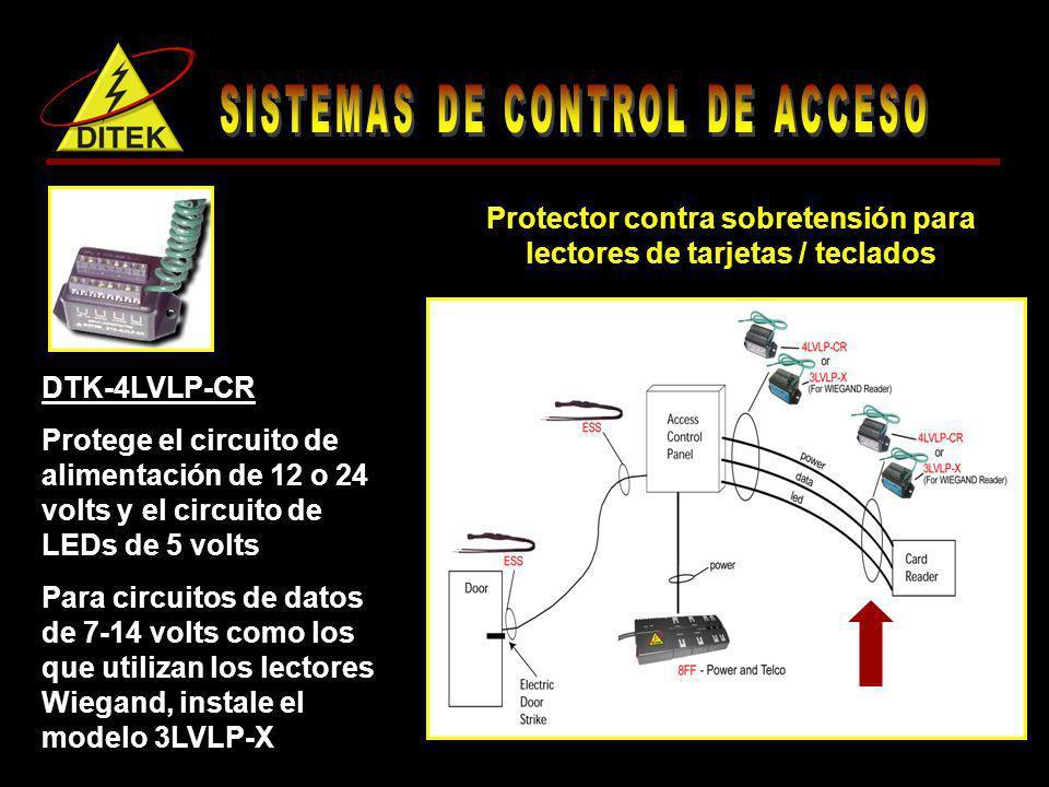 Protector contra sobretensión para lectores de tarjetas / teclados DTK-4LVLP-CR Protege el circuito de alimentación de 12 o 24 volts y el circuito de