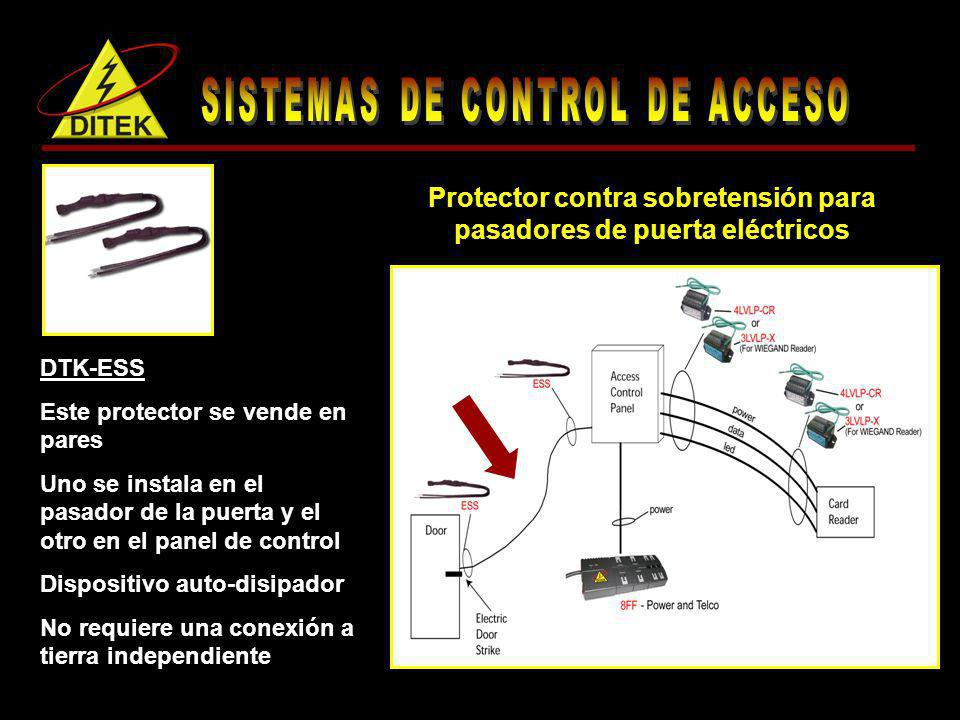 DTK-8FF Este protector de alta carga tiene 4 receptáculos de CA estándar y 4 receptáculos de ttransformador, además de un puerto para teléfono, fax o modem Posee múltiples diagnósticos Protector contra sobretensión de alta carga, de 8 tomas