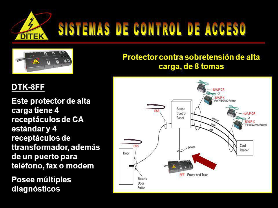 DTK-8FF Este protector de alta carga tiene 4 receptáculos de CA estándar y 4 receptáculos de ttransformador, además de un puerto para teléfono, fax o