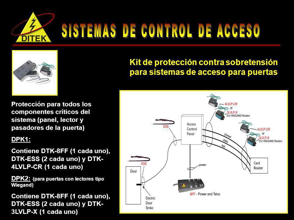 Protección para todos los componentes críticos del sistema (panel, lector y pasadores de la puerta) DPK1: Contiene DTK-8FF (1 cada uno), DTK-ESS (2 ca