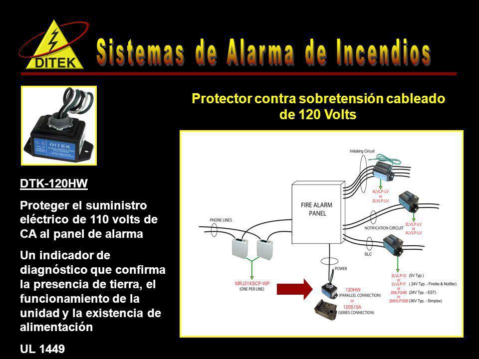 Protector contra sobretensión cableado de 120 Volts DTK-120HW Proteger el suministro eléctrico de 110 volts de CA al panel de alarma Un indicador de d