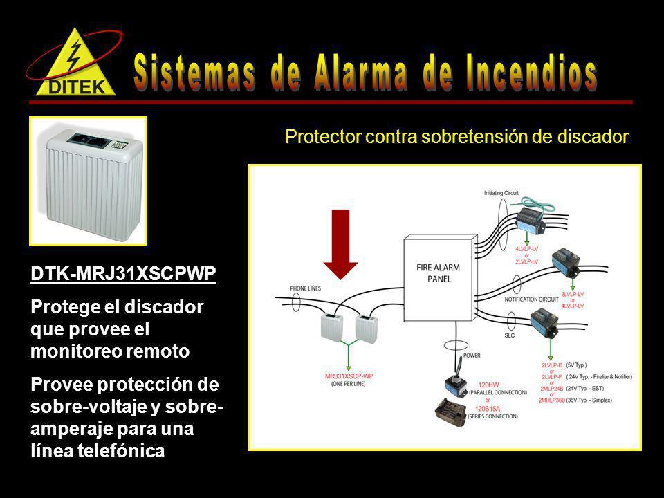 Protección completa para alimentación y dos discadores DTK-FPK1 (1) DTK-120HW (2) DTK-MRJ31XSCP-WP DTK-FPK2 (1) DTK-120S15A (2) DTK-MRJ31XSCP-WP Kits de protección contra sobretensión para paneles de alarma de incendio