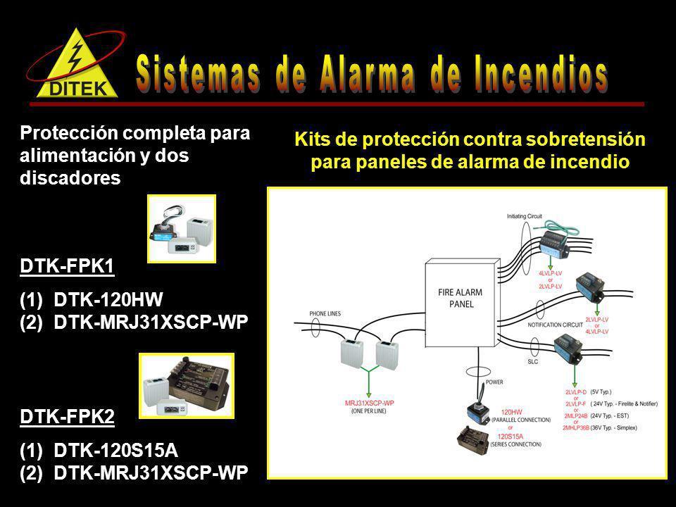 DTK-LVLP-LV Protección ideal para circuitos fuera del territorio o en zona de riesgo Disponible en configuraciones de 1-8 pares (2-16 hilos) Provee protección de sobrevoltaje (especificar 6, 14, 30, 50, 75, 95 o 130 volts) y unidades con fusible (opcional) Protector contra sobretensión los circuitos de notificación y señalización