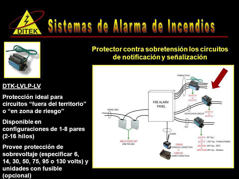 DTK-LVLP-LV Protección ideal para circuitos fuera del territorio o en zona de riesgo Disponible en configuraciones de 1-8 pares (2-16 hilos) Provee pr