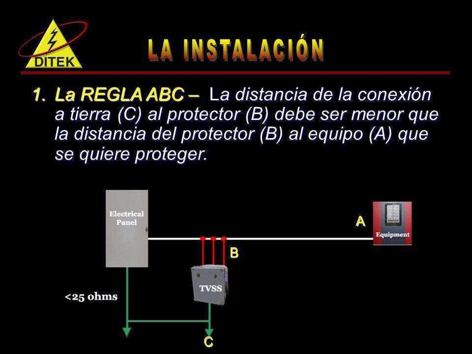 1.La REGLA ABC – La distancia de la conexión a tierra (C) al protector (B) debe ser menor que la distancia del protector (B) al equipo (A) que se quie