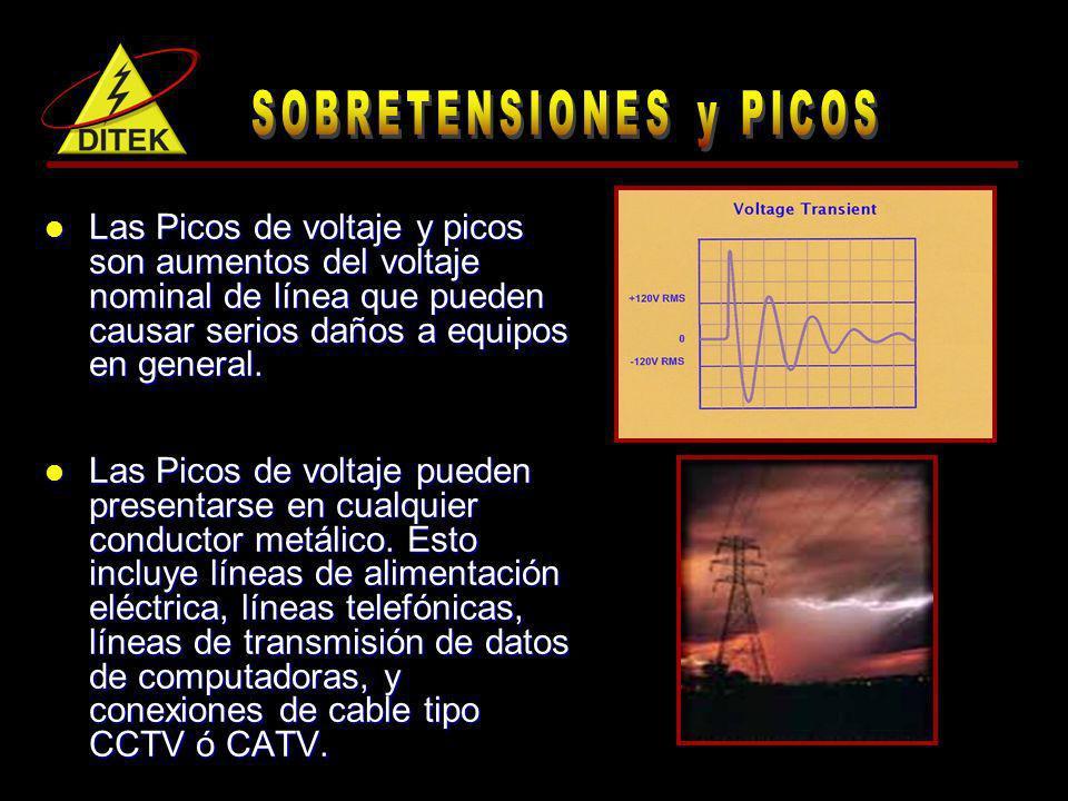 Las Picos de voltaje y picos son aumentos del voltaje nominal de línea que pueden causar serios daños a equipos en general. Las Picos de voltaje y pic