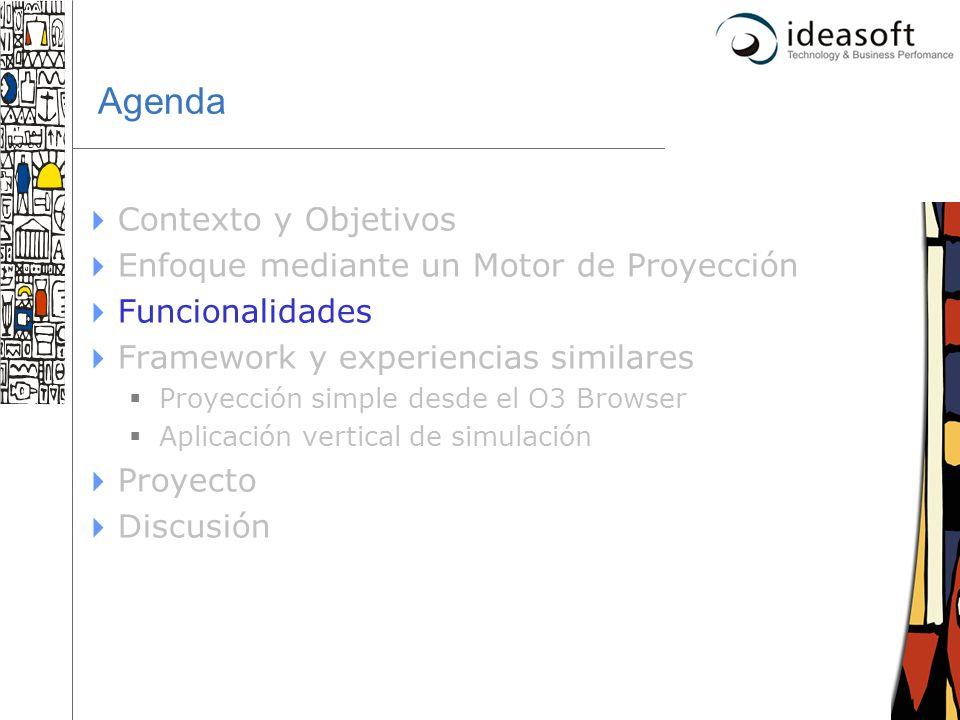 17 Agenda Contexto y Objetivos Enfoque mediante un Motor de Proyección Funcionalidades Framework y experiencias similares Proyección simple desde el O