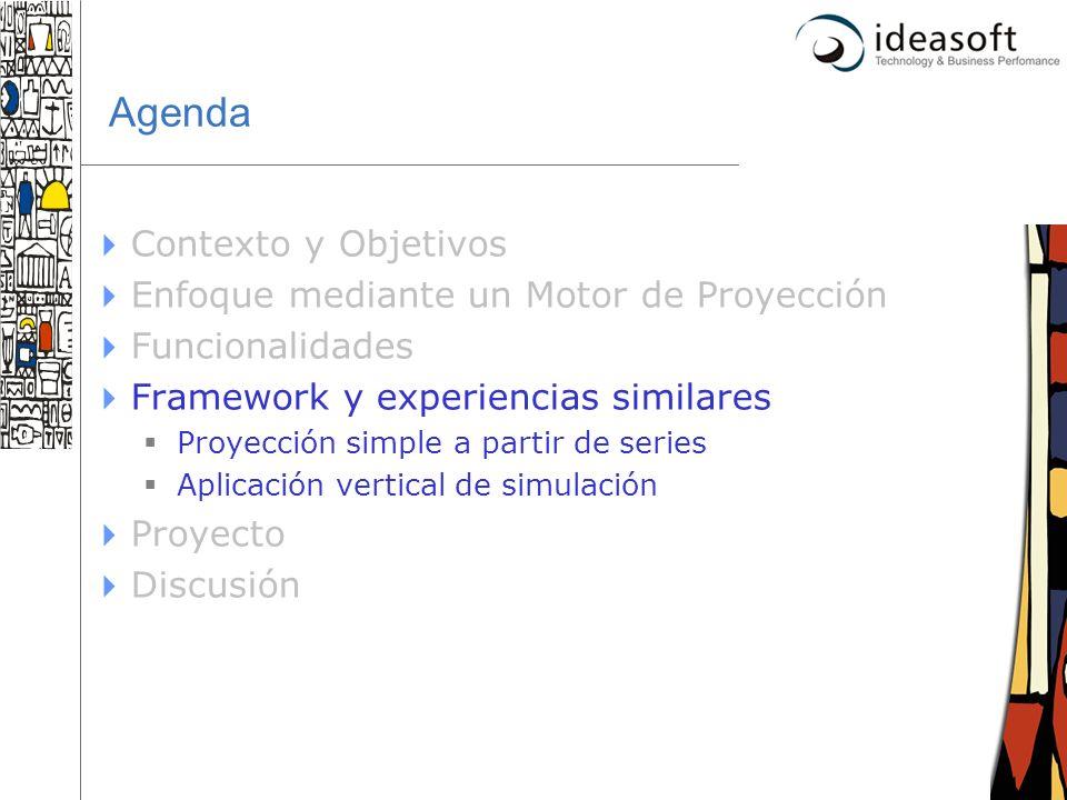 26 Agenda Contexto y Objetivos Enfoque mediante un Motor de Proyección Funcionalidades Framework y experiencias similares Proyección simple a partir d