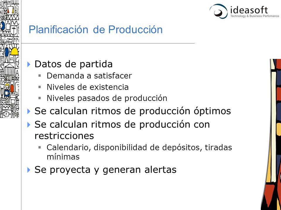 29 Planificación de Producción Datos de partida Demanda a satisfacer Niveles de existencia Niveles pasados de producción Se calculan ritmos de producc