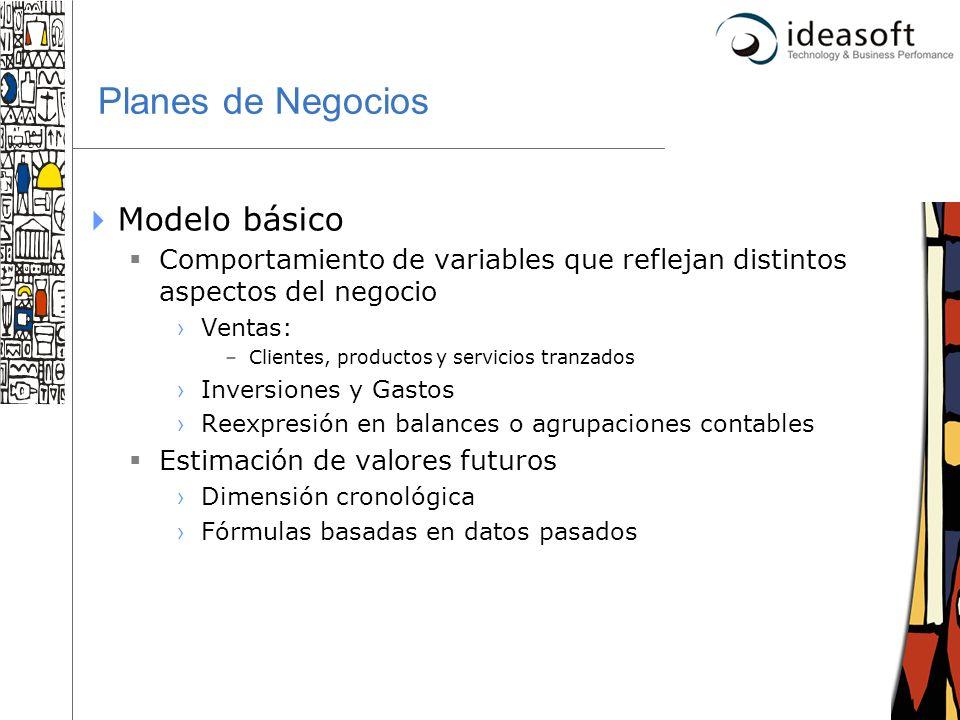 3 Planes de Negocios Modelo básico Comportamiento de variables que reflejan distintos aspectos del negocio Ventas: –Clientes, productos y servicios tr