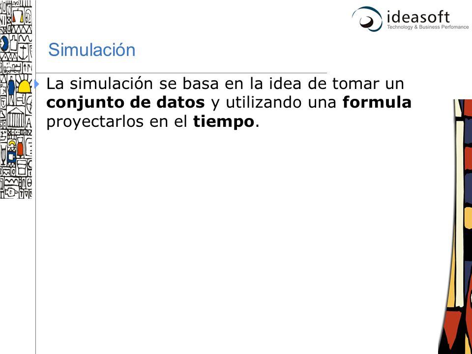 31 Simulación La simulación se basa en la idea de tomar un conjunto de datos y utilizando una formula proyectarlos en el tiempo.