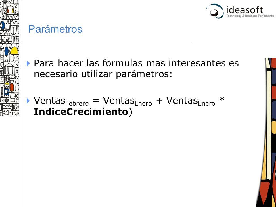 34 Parámetros Para hacer las formulas mas interesantes es necesario utilizar parámetros: Ventas Febrero = Ventas Enero + Ventas Enero * IndiceCrecimie