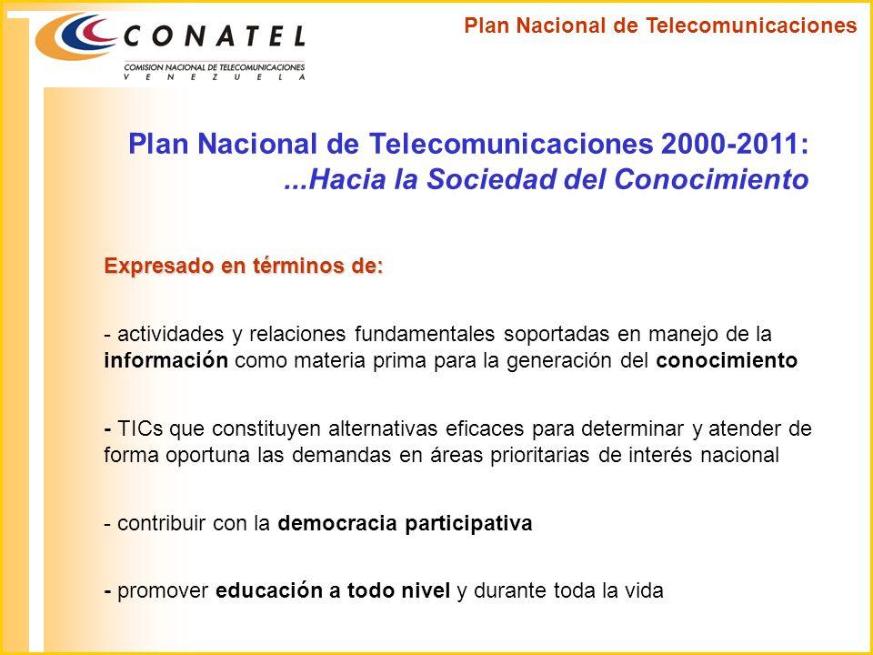 Plan Nacional de Telecomunicaciones 2000-2011:...Hacia la Sociedad del Conocimiento Expresado en términos de: - actividades y relaciones fundamentales