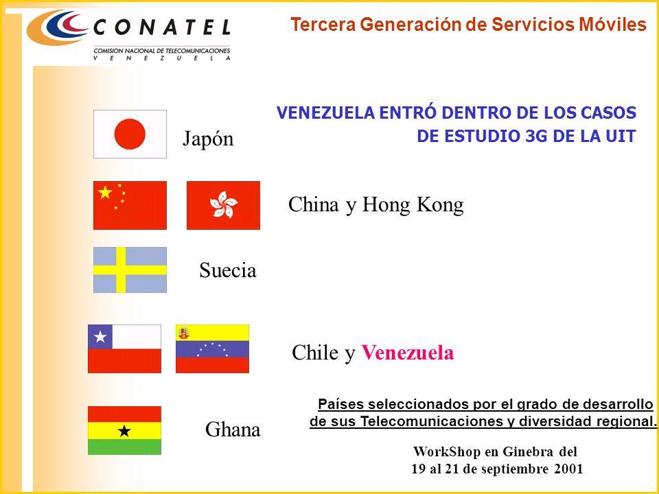 Tercera Generación de Servicios Móviles VENEZUELA ENTRÓ DENTRO DE LOS CASOS DE ESTUDIO 3G DE LA UIT Japón China y Hong Kong Suecia Chile y Venezuela G