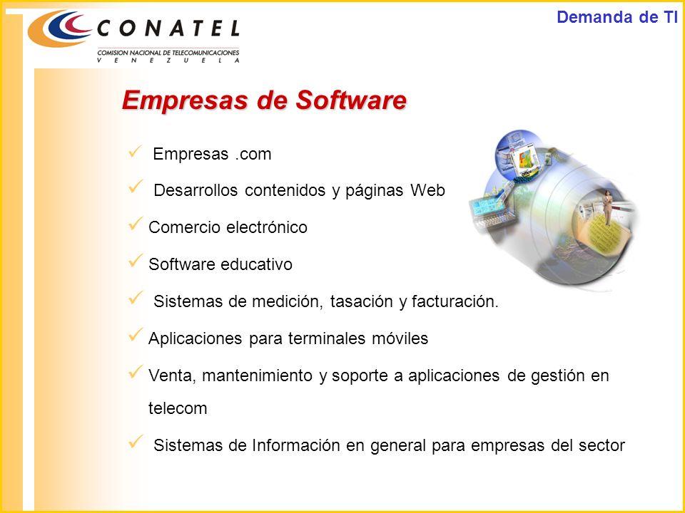 Empresas.com Desarrollos contenidos y páginas Web Comercio electrónico Software educativo Sistemas de medición, tasación y facturación. Aplicaciones p