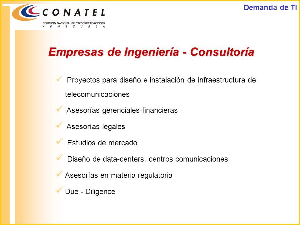 Empresas de Ingeniería - Consultoría Proyectos para diseño e instalación de infraestructura de telecomunicaciones Asesorías gerenciales-financieras As