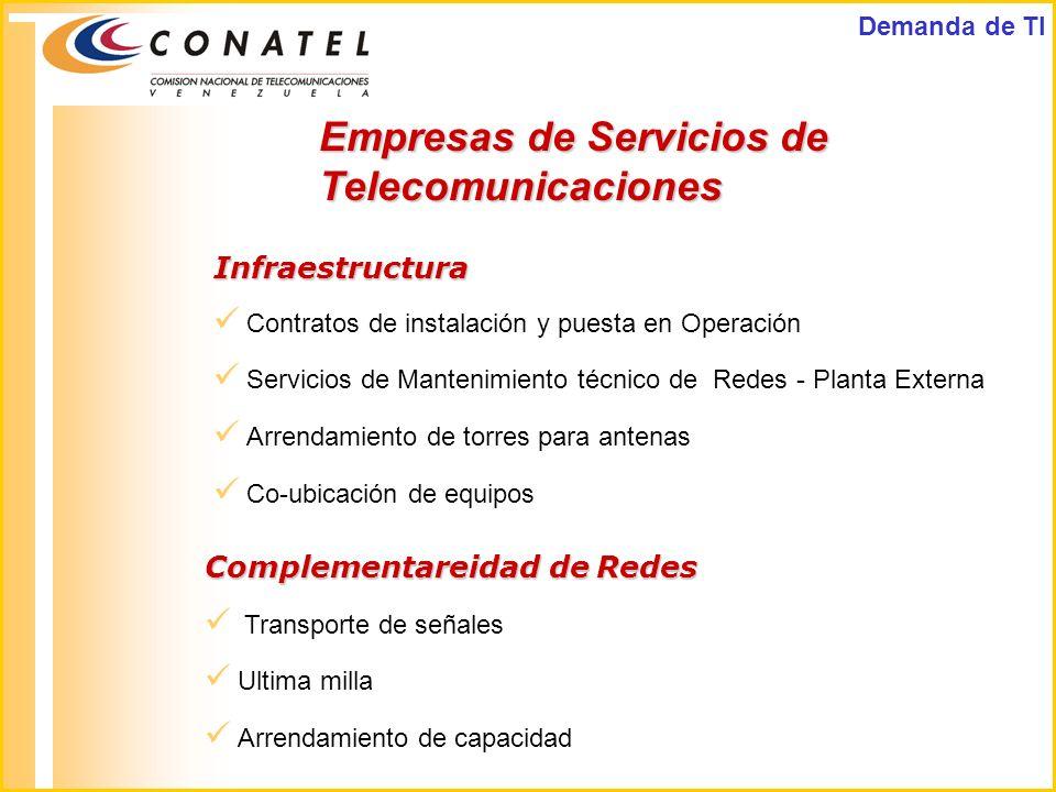 Contratos de instalación y puesta en Operación Servicios de Mantenimiento técnico de Redes - Planta Externa Arrendamiento de torres para antenas Co-ub