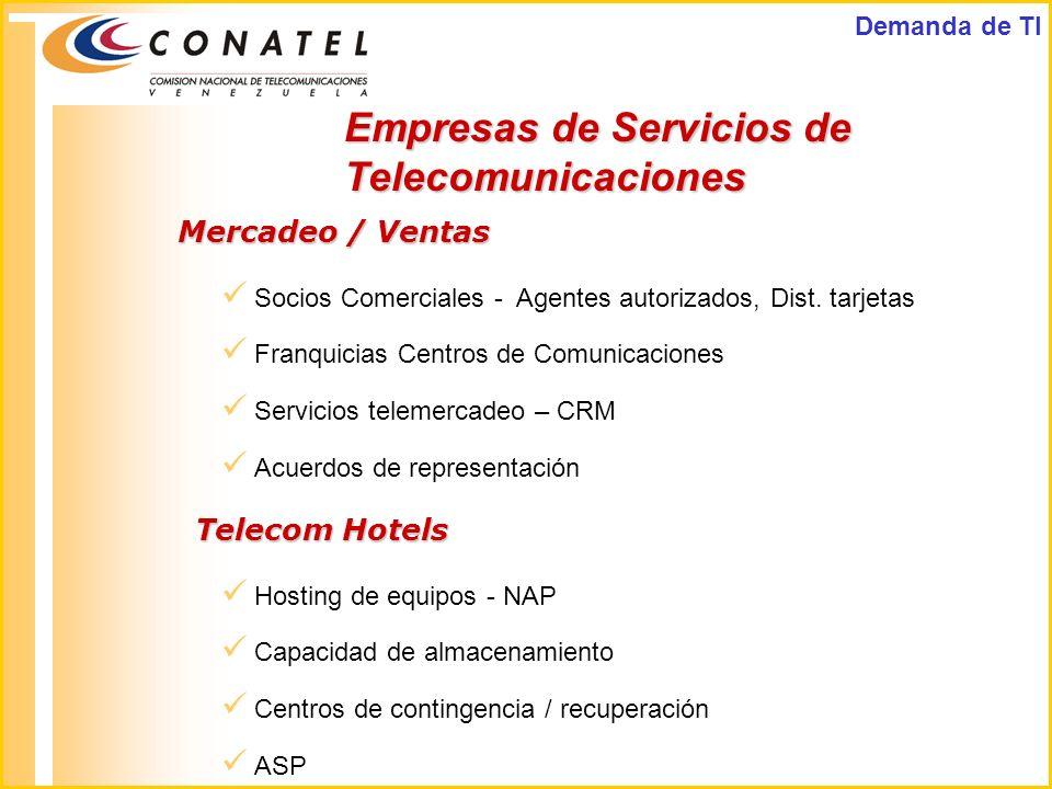 Empresas de Servicios de Telecomunicaciones Mercadeo / Ventas Socios Comerciales - Agentes autorizados, Dist. tarjetas Franquicias Centros de Comunica