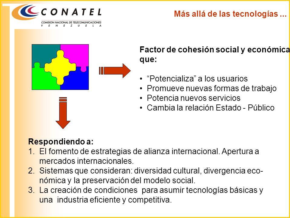 Factor de cohesión social y económica que: Potencializa a los usuarios Promueve nuevas formas de trabajo Potencia nuevos servicios Cambia la relación